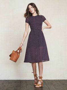 Meet Betty. She's not too short, not too long. She just feels right. This is a georgette midi dress with short sleeves, seaming and a hook/zip closure in the back. https://www.thereformation.com/products/betty-dress-marilyn?utm_source=pinterest&utm_medium=organic&utm_campaign=PinterestOwnedPins