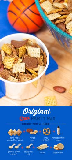 Be the MVP of your party with the classic game day snack, Original Chex™ Party Mix! It's easy to make and take with you all tournament long. Appetizer Recipes, Snack Recipes, Cooking Recipes, Snacks, Appetizers, Chex Mix Recipes, Party Mix, Tasty, Yummy Food
