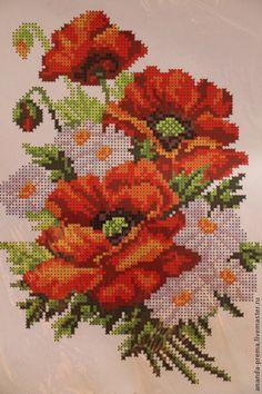 Cross Stitch Embroidery, Hand Embroidery, Cross Stitch Patterns, Tulips, Poppies, Cross Stitch Landscape, Stitch 2, Cross Stitch Flowers, Crochet Hats
