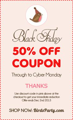 #blackfriday #sale #couponcode #cybermonday #party #printables