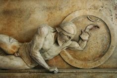 Relief sculpture, dying warrior, west pediment Temple of Aphaia Greek, Classical Period correction: Reproduction Classical Greece, Classical Period, Greek History, Art History, Roman Sculpture, Lion Sculpture, Art Sculptures, Greek Warrior, Greek Art