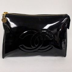 Chanel Chanel Black Patent Leather CC Cosmetic Bag