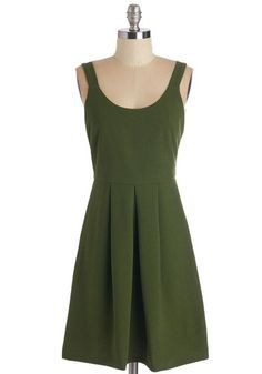 Purveyor of Charm Dress. Spread cheer everywhere you stroll in this richly hued moss-green dress. #green #modcloth