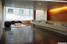 Polished concrete floor creates a clean, modern look.  Decorative Concrete of NY Bohemia NY