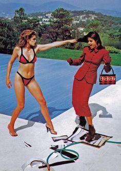 Cindy Crawford - Helena Christensen - Vogue 1991 - ph Helmut Newton - #lexeecouture  http://lexeecouture.tumblr.com/archive http://www.pint...