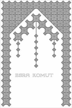 Palestinian Embroidery, Prayer Rug, Blackwork, Cross Stitch Patterns, Embroidery Designs, Diy And Crafts, Sewing Projects, Black And White, Canvas