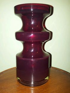 1970s SCANDINAVIAN HOOPED RUBY RED GLASS VASE EX CON