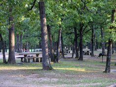 Boggy Depot Park, Atoka, Oklahoma = fishing lake, nature trail, baseball, playground, picnic, group picnic shelters, campgrounds, biking, boating, hiking, wildlife