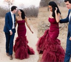 Vintage Burgundy Mermaid Colorful Wedding Dresses Strapless Sweetheart Non White Bridal Gown For Non Traditional Wedding