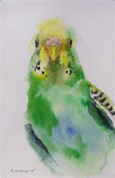 "Daily Paintworks - ""budgie5"" - Original Fine Art for Sale - © Katya Minkina #watercolor jd"