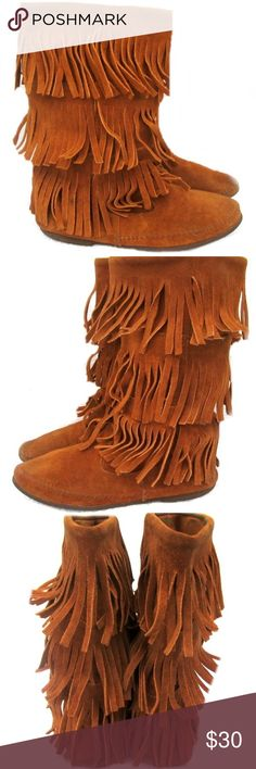 Suede Leather Fringe Boots Suede leather fringe boots. The size is not marked, but they will fit a 7.5. Pre-owned condition. There is some wear on bottom soles. Beautiful boots! Shoes