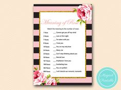 Meaning of Rose Game Parisian Pink Black by MagicalPrintable