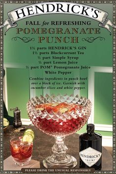 Ancient civilizations believed the pomegranate symbolized prosperity and wealth, so what better fruit to feature in a refreshing, pleasingly peppered punch designed for sharing with fellow fall revelers? A brimming bowl of this marvelous concoction of pomegranate and lemon juices, black currant tea, Hendrick's, and white pepper conveys generosity of spirit (and sprits) at any autumn soiree. Best Gin Cocktails, Gin Cocktail Recipes, Alcohol Drink Recipes, Punch Recipes, Cocktail Drinks, Alcoholic Drinks, Beverages, Gin Recipes, Fall Drinks