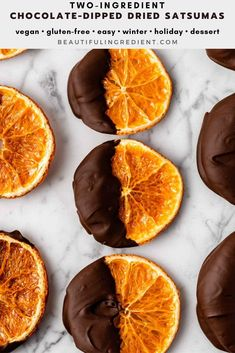 Chocolate-Dipped Dried Satsuma Orange Slices require only two ingredients and are such a beautiful treat! Recipe by Kari of Beautiful Ingredient. #satsumarecipes #chocolate #vegan #twoingredientrecipe #chocolatedipped #chocolatecovered #holidaycandy #orange #chocolateorange #orangeandchocolate #satsumas #winterdessert