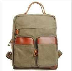 "Large Vintage Handmade Leather Backpack / Satchel / Travel Bag / 17"" Laptop Bags / 17"" MacBook Bags  (m829-3)"