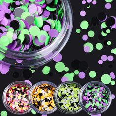 12 Boxes/set Laser Nail Sequins Colorful Tips Round Shape Nail Glitter Tips 12 Colors Manicure Nail Art Decoration