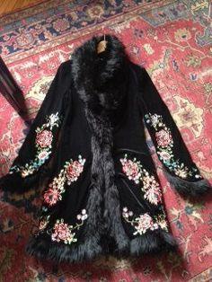 Vintage Betsy Johnson Embroidered Velvet Faux FUR Evening Opera Dress Coat | eBay