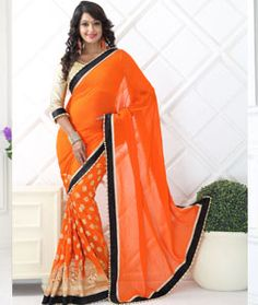 Buy Orange Viscose Party Wear Saree 71727 with blouse online at lowest price from vast collection of sarees at Indianclothstore.com.