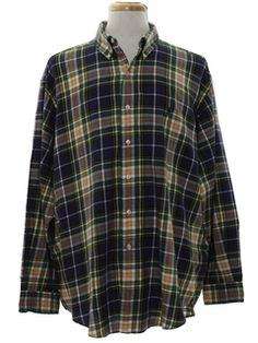 Vintage 80/'s Haband Cotton Blend Long Sleeve Button Down Trucker Grunge Burn Out Flannel Shirt