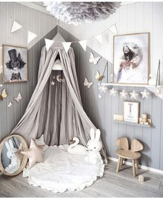 Love this beautiful kid's room! Linen canopy, Miffy lamp and Vita Eos lamp - Project Nursery - meadoria Baby Bedroom, Baby Room Decor, Nursery Room, Girls Bedroom, Trendy Bedroom, Bedroom Ideas, Nursery Ideas, Bedroom Green, Bed Ideas