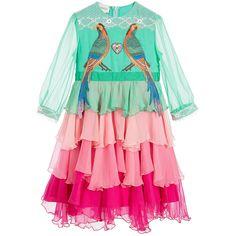 Gucci Girls Green & Pink Silk Dress  at Childrensalon.com