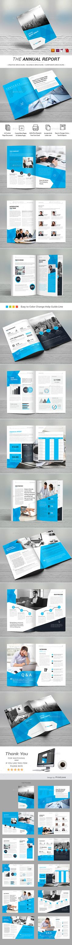 Annual Report - Corporate Brochures Template Vector EPS, InDesign INDD, AI Illustrator