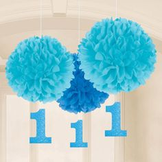 1st Birthday Blue Fluffy Hanging Decorations (3 Pack)