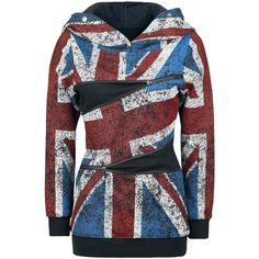 Multicolor Union Jack Graphic Hoody Sweater by Pussy Deluxe @ EMP $55