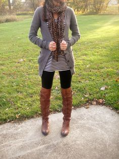 Lilly's Style < Oversized cardigan, striped shirt, leopard scarf, leggings and long flat boots