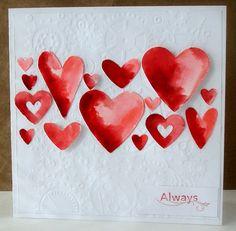 watercolor hearts, love it