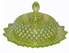 *FENTON ART GLASS ~ Hobnail Topaz Opalescent Scarce Covered Butter and Cheese Dish