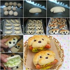 Cute and Yummy dog sandwiches. I'm assuming that no actual dogs were harmed in the making of these sandwiches. Cute and Yummy dog sandwiches I would make from bread dough Cute and Yummy dog sandwiches.Plain bread rolls shaped as shown with raisins for eye Hot Dogs, Hot Dog Buns, Cute Food, Good Food, Yummy Food, Hotdog Sandwich, Hotdog Dog, Sandwich Ideas, Sandwich Recipes