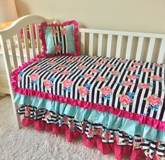 Bumperless Crib Bedding - Hot Pink, Aqua, Gold Dot, and Watercolor Floral Stripe