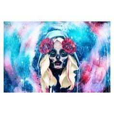 Halloween Day of the Dead Sugar Skull Girl Rain Rolled Canvas Wall Art