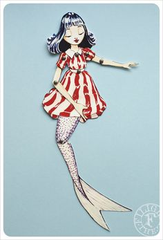 Articulated Mermaid Paper Doll handmade by the by theFiligree, $8.00