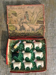 Antique Boxed German Putz Wooly Wooden Sheep.