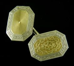 Beautifully engraved arabesque centers reminiscent of the Moorish architecture of medieval Spain surrounded by bright Art Deco borders with rising sun and lotus motifs.  These striking cufflinks reflect the jazzy, eclectic elegance of the 1920s.  Crafted in platinum and 14kt gold,  circa 1925. http://www.jewelryexpert.com/catalog/Platinum-and-Gold-Arabesque-Cufflinks-J9198.htm