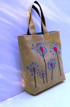 Dandelion Handmade unique jute tote handbag, artistic,embroidered, resort, book bag, beach bag,diaper bag