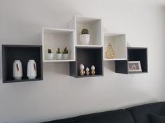 Wall storage, ikea hack, apartment design, home decor items, living room in Home Decor Furniture, Home Decor Items, Diy Home Decor, Wall Shelf Decor, Wall Shelves Design, Ikea Bedroom, Bedroom Decor, Ikea Eket, Ikea Hack
