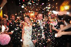 Confetti is a fun and colorful way to make your exit.