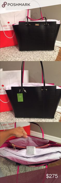 ♠️️Kate Spade XL Annelle Tote♠️️ ⭐️NWT Kate Spade Annelle XL Tote.. Color is Black with Sweetheart Pink Inside..  Genuine smooth leather with matching trim.14-karat light gold plated hardware.Magnetic snap strap closureDual flat leather handles with 9.5″ drop.Unlined interior in sweetheart pink color.Interior features large zip pocket and two slide pocketsProtective metal feetApproximate dimensions: 12″ H x 18″ L x 5.5″ DNO TRADESLess onⓂ️ kate spade Bags Totes