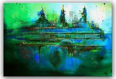 BURGSTALLER ORIGINAL XXL Gemälde handgemalt Leinwandbild Bild grün türkis FOREST