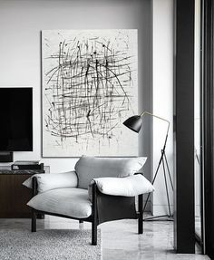 Minimalist art on canvas, hand painted black and white painting from CZ ART DESIGN, for minimalist home and modern interiors. @CeilneZiangArt
