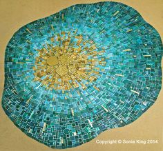 One of the finished 'energy burst' mosaic elements for 'VisionShift', a new mosaic installation by Sonia King