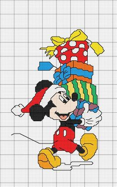 Disney - Mickey - Christmas Presents Disney Cross Stitch Patterns, Counted Cross Stitch Patterns, Cross Stitch Charts, Cross Stitch Designs, Cross Stitch Embroidery, Xmas Cross Stitch, Cross Stitch For Kids, Cross Stitch Baby, Cross Stitching