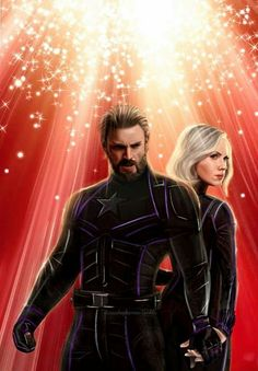 Captain America looks really nice with beard and everything but they really screwed Black Widow up. She looks great with every hair (red short, long red, curly, brown .) but not with blonde hair! Captain America Black Widow, Marvel Captain America, Marvel Fan, Marvel Dc Comics, Marvel Heroes, Marvel Avengers, Infinity War, Marvel Characters, Marvel Movies