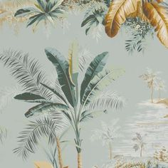 Palm trees wallpaper, Alexandrie fabric by Pierre Frey Tree Wallpaper, Bathroom Wallpaper, Print Wallpaper, Pattern Wallpaper, Brown Wallpaper, Wallpaper Ideas, Pierre Frey, Roommate Decor, Jungle Life