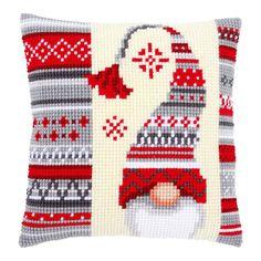 <h2>Lutin de Noël : Kit coussin canevas gros trous à réaliser au point de croix</h2>