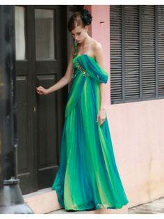 Contrast Chiffon Asymmetric Neckline Ruched Bodice A-line Prom Dress