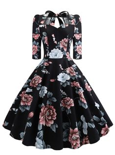 Women'S Vintage Dress Sweetheart Neck Half Sleeve Swing Floral Print Bowknot Dresses Party Rockabilly Retro Dress Size S Color Black Dance Dresses, Prom Dresses, Formal Dresses, Elegant Dresses, Sexy Dresses, Rockabilly Dresses, Corset Dresses, Graduation Dresses, Mermaid Dresses